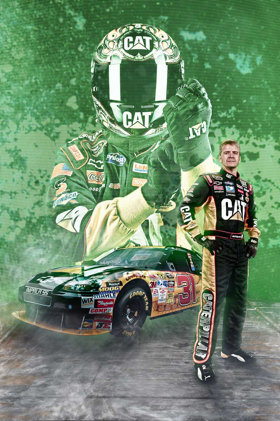 Racecar-Driver-Jeff Burton-Nascar-Photoshop-Photo-Manipulation