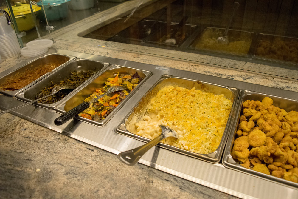 Some of the side dish options: baked beans, collard greens, roasted veggies, mac and cheese, and fried pickles