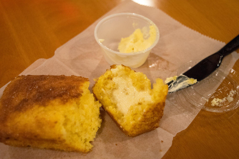 Shed's cornbread, made from Shawn and Edward's grandmother's recipe!