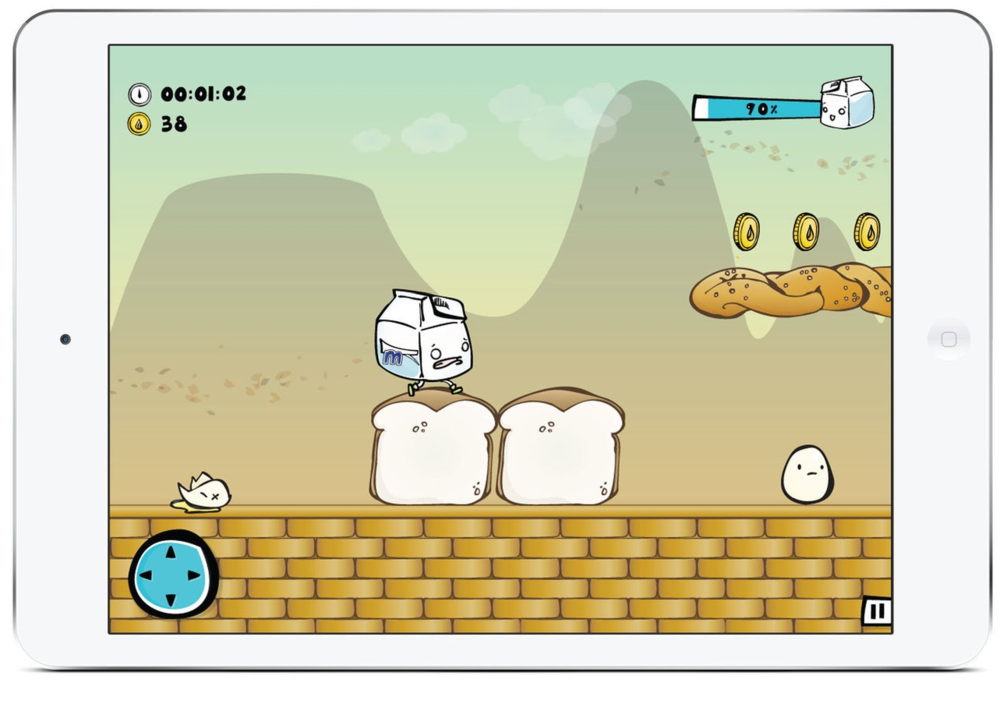 Level: Bread   town --  The level environment and enemies for each levels are inspired by the nutrition pyramid.