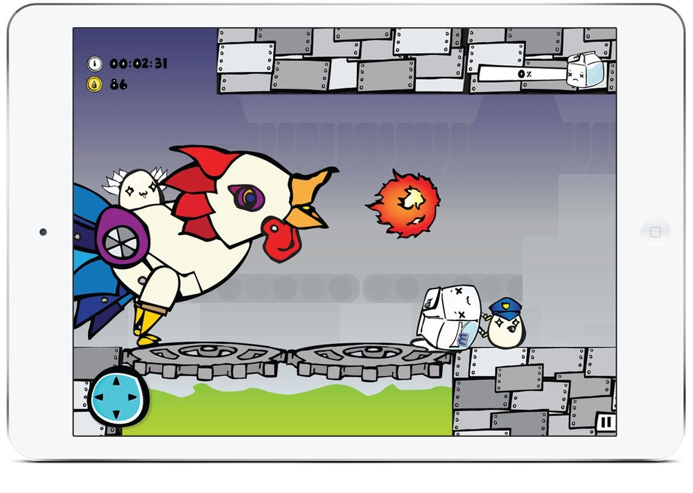 Level: Egg Factory -- The boss stage with Dr. Eggstein riding on the indestructible Robo-chicken that will peck at Mr. Milk when its fire ball doesn't quite cut it. Sadly, Mr. Milk will have to restart this level and try again.