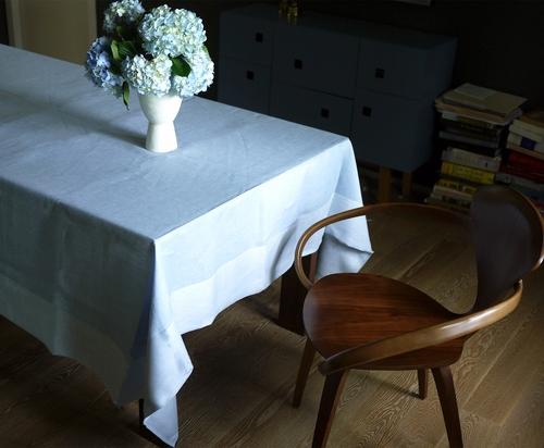 sky sateen linen tablecloth