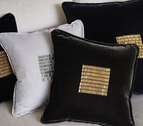 beaded velvet pillows