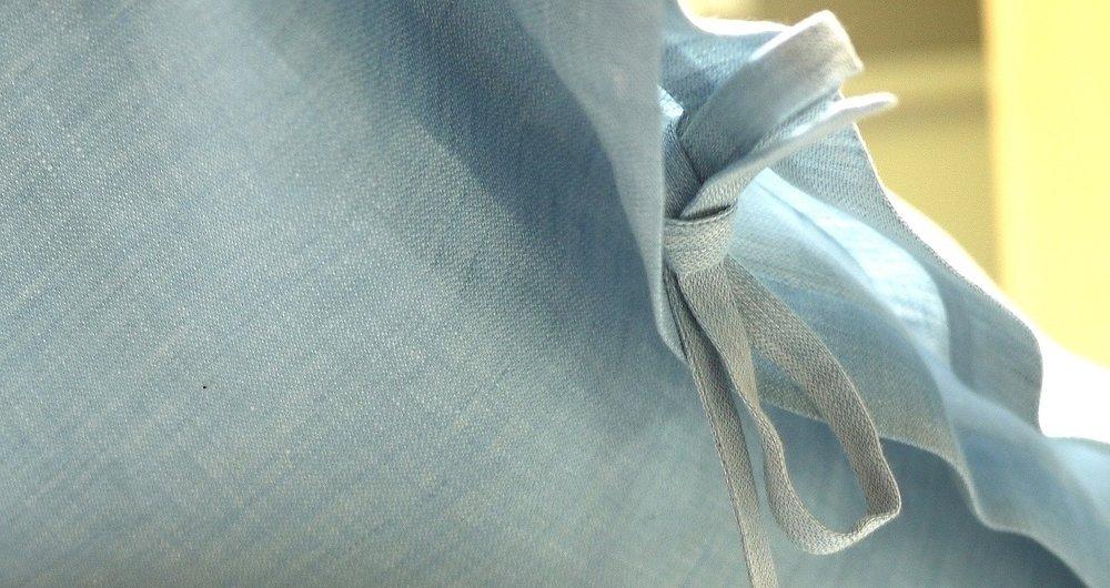 custom sateen linen sham with side ties