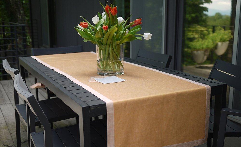 sateen linen table runner