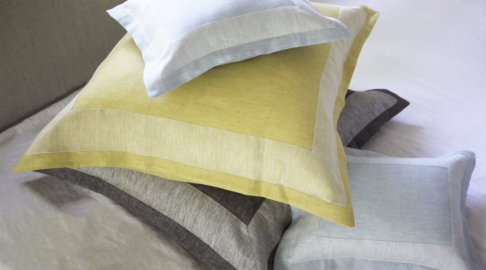 sateen linen shams with contrast inset band