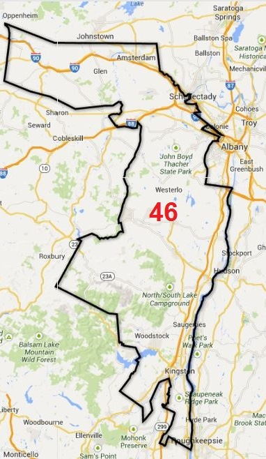 The bizarre state senate district 46 – stretching from the Mohawk Valley to the lower Hudson Valley – was designed in 2012 to ensure victory for a specific candidate Photo credit: Ballotpedia.com