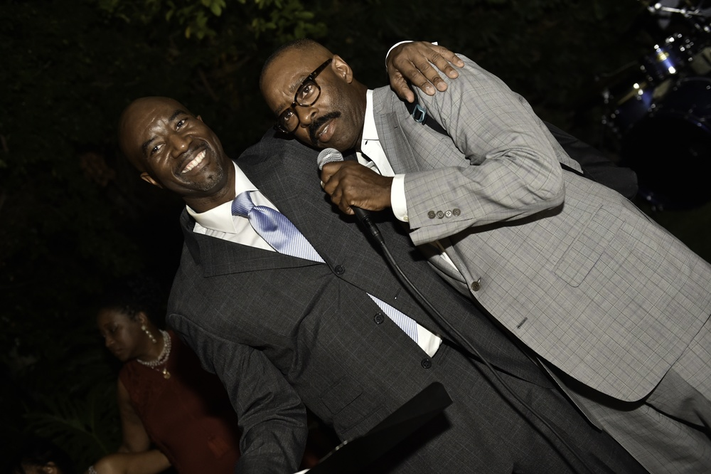 Caption: Photographer Matthew Jordan Smith and actor Courtney B. Vance speaking at the Kickstarter launch party for FUTURE AMERICAN DREAM. Photographs by Ron Pollard.