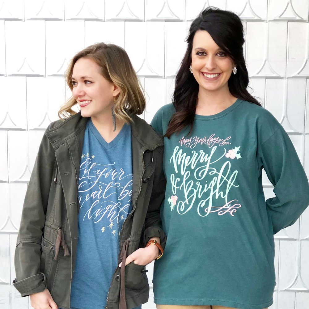 ConnarJoyCalligraphy_both Christmas shirts.JPG