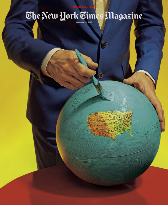 "maurizio cattelan and pierpaolo ferrari // ""their image of the globe shows ""a protaginist erasing the surface of a troubled earth. all at once there is equal terror and peace"""