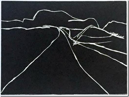 "lee ranaldo // to bilbao 042413 #12 // 16.25"" x 13.75"" //2015 // block print"