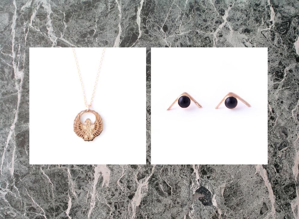 drift / riot  phoenix necklace  +  space odyssey onyx studs