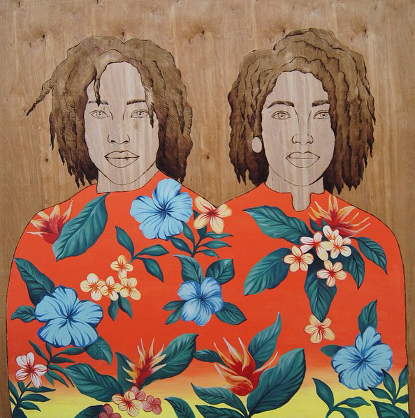 rose jaffe // melissa & naomi // acrylic, wood stain + wood burning on wood // 4' x4'