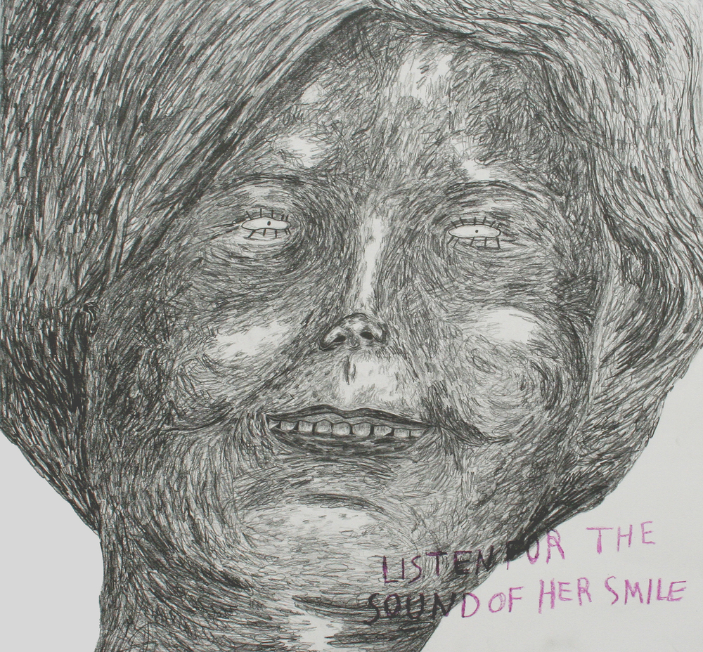 "jessica butler // smile sounds // 2013 // graphite and glitter crayon on paper // 22"" x 21"""