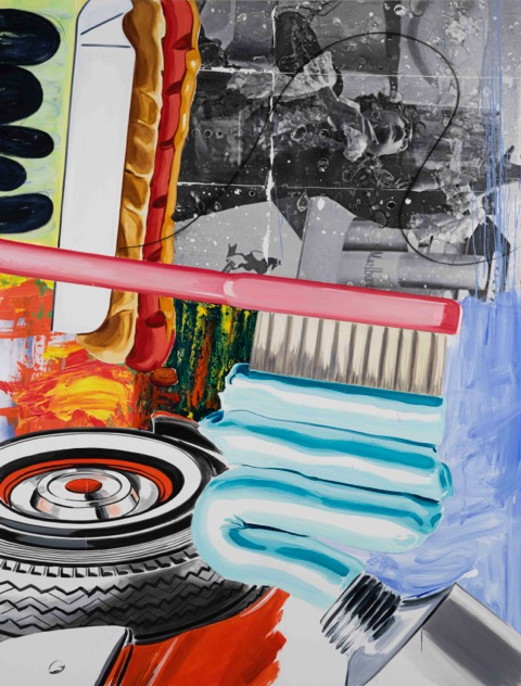 david salle // self-expression // 2015 // oil, acrylic, charcoal, archival digital print and pigment transfer on linen // 102 x 78 inches