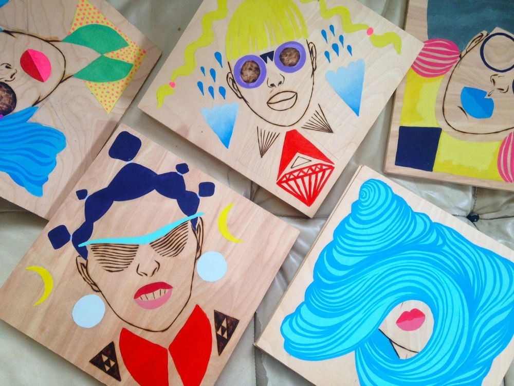 rose jaffe // wood burned and acrylic painted funky ladies to be installed at a local coffee shop