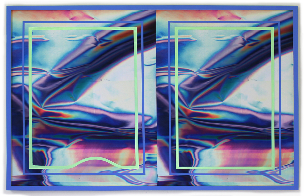 "anne vieux // double vision vii // acrylic paint on inkjet print // 32'"" x 50"" each // 2015"