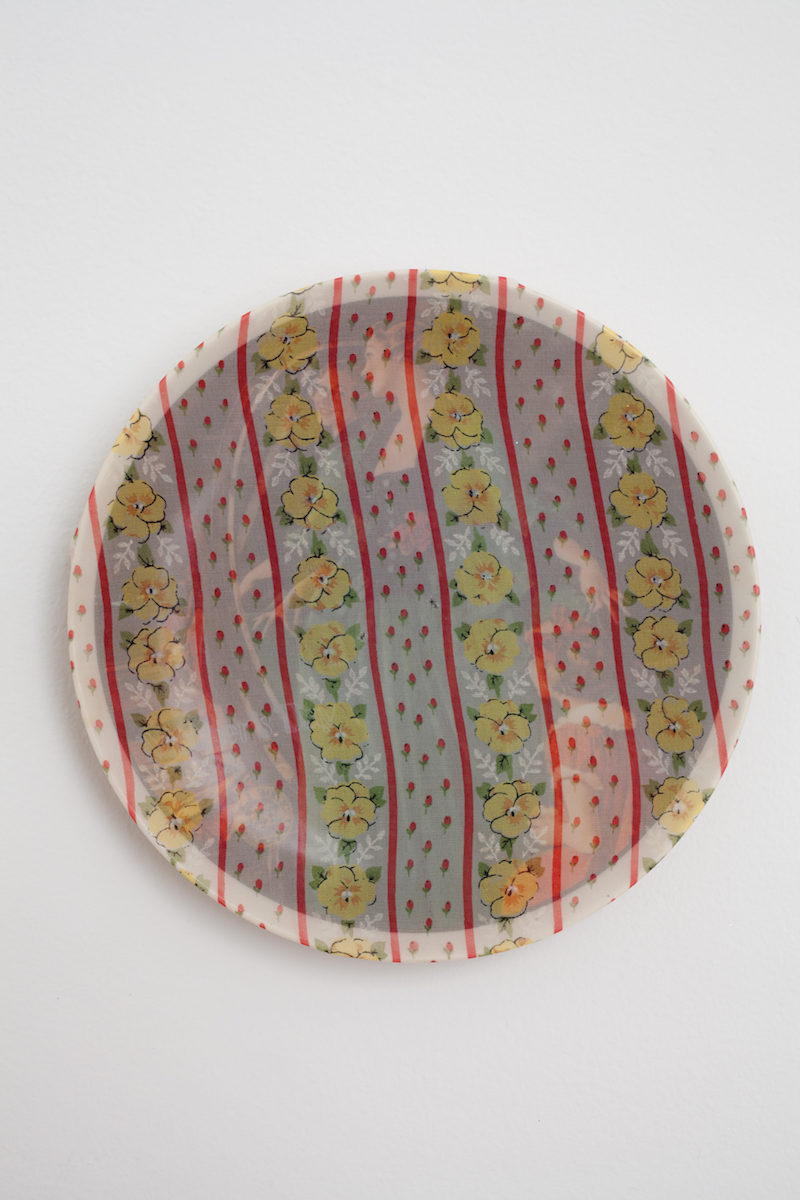 "heather garland // grandma's courting dress // 2016 // found ceramic plate with handkerchief // 8.5"" x 8.5"""