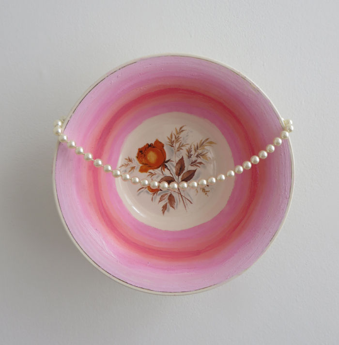 "heather garland // pearl harbor // 2016 // oil and pearl necklace on found ceramic bowl // 9"" x 9"" x 3"""