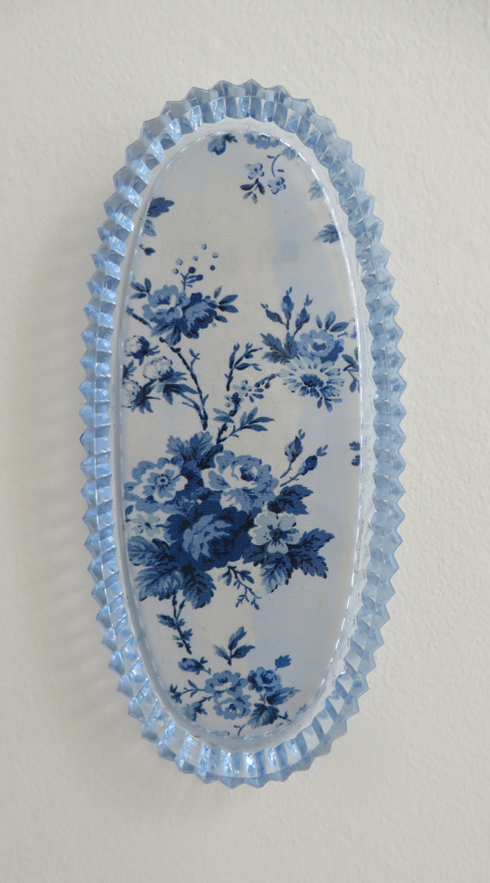 "heather garland // something blue // 2016 // ralph lauren sampler under found glass dish // 10"" x 4.25"""