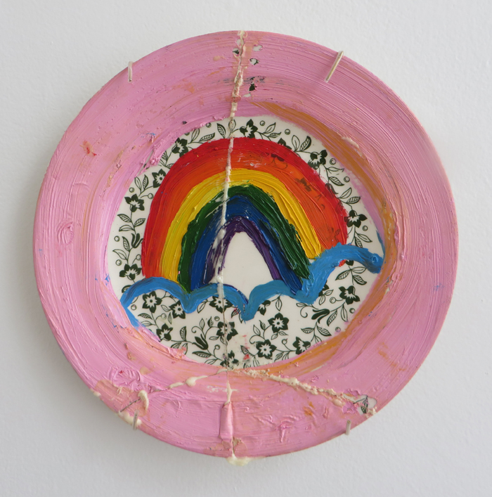 "heather garland // inner strength // 2015 // oil and gorilla glue with plate hanger on found ceramic plate // 9"" x 9"""