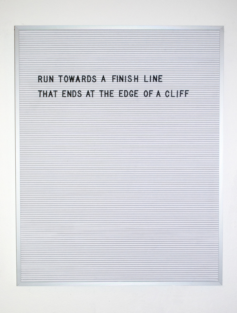 "finish line // 24""x30"" // vinyl, plastic, and aluminum // 2016"
