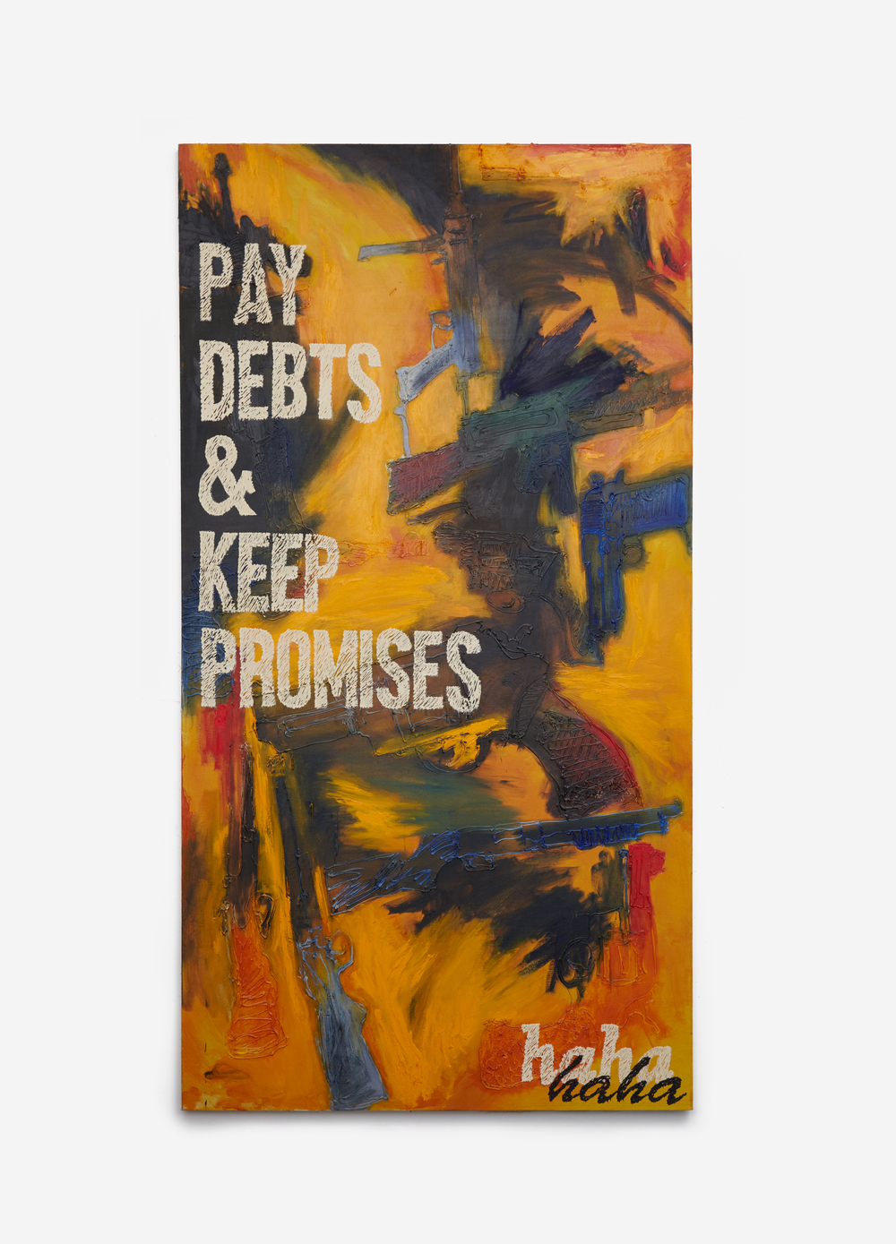 "nic rad // ""a just society (pay debts & keep promises)"" // 2016 // oil, acrylic, caulk, on linen // 102h x 54w in"