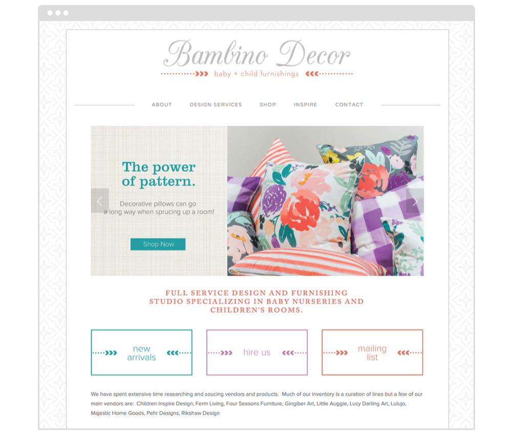 Bambino Decor website designed by Style-Architects