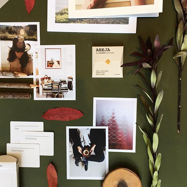 Fall is in the air especially with one of our new branding clients. 🍁🍂We love when they bring in their favorite things to incorporate into their mood board. (Hello delicious chocolate!)