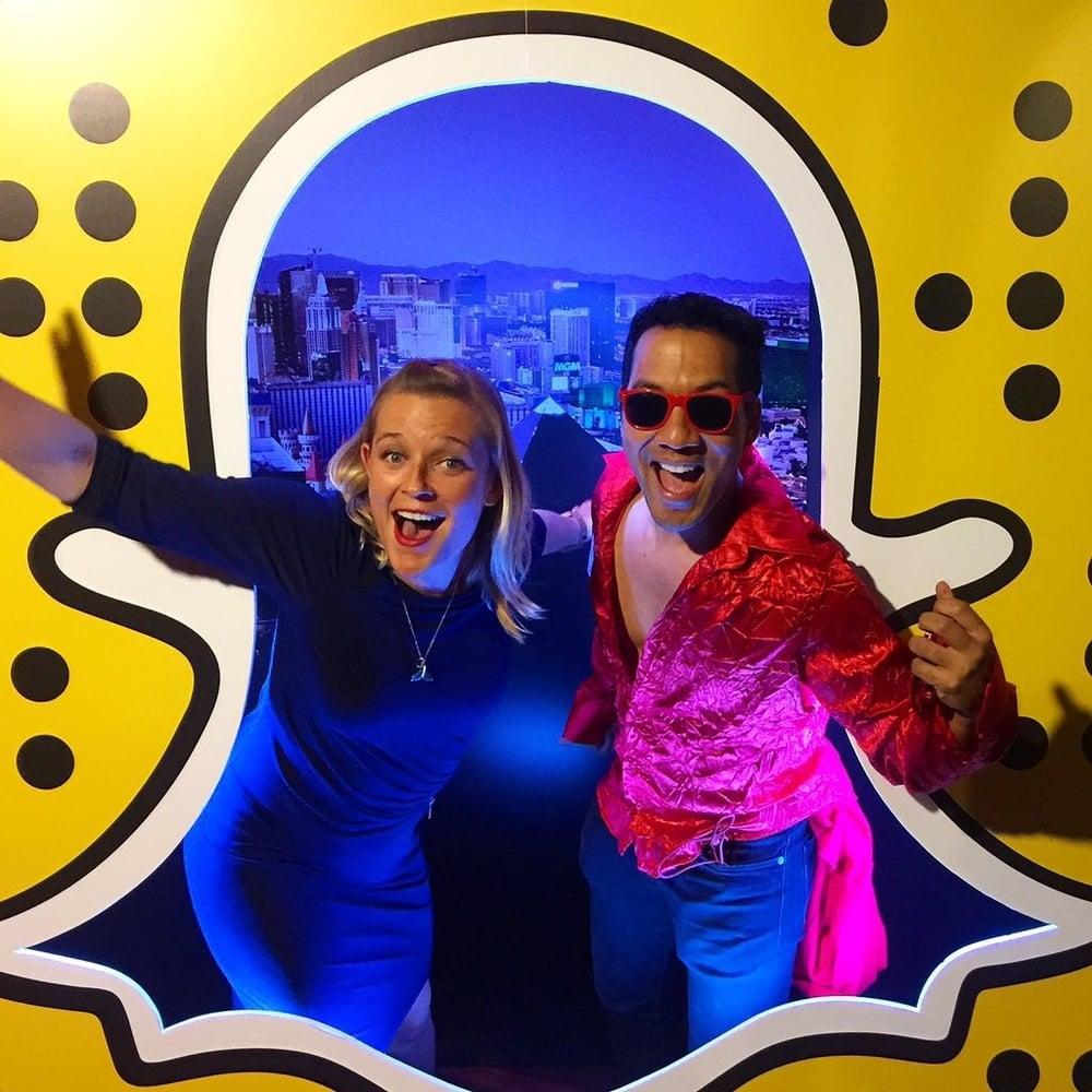 Savannah Peterson and DigitalLA founder Kevin Winston at the DigitalLA & SnapChat party