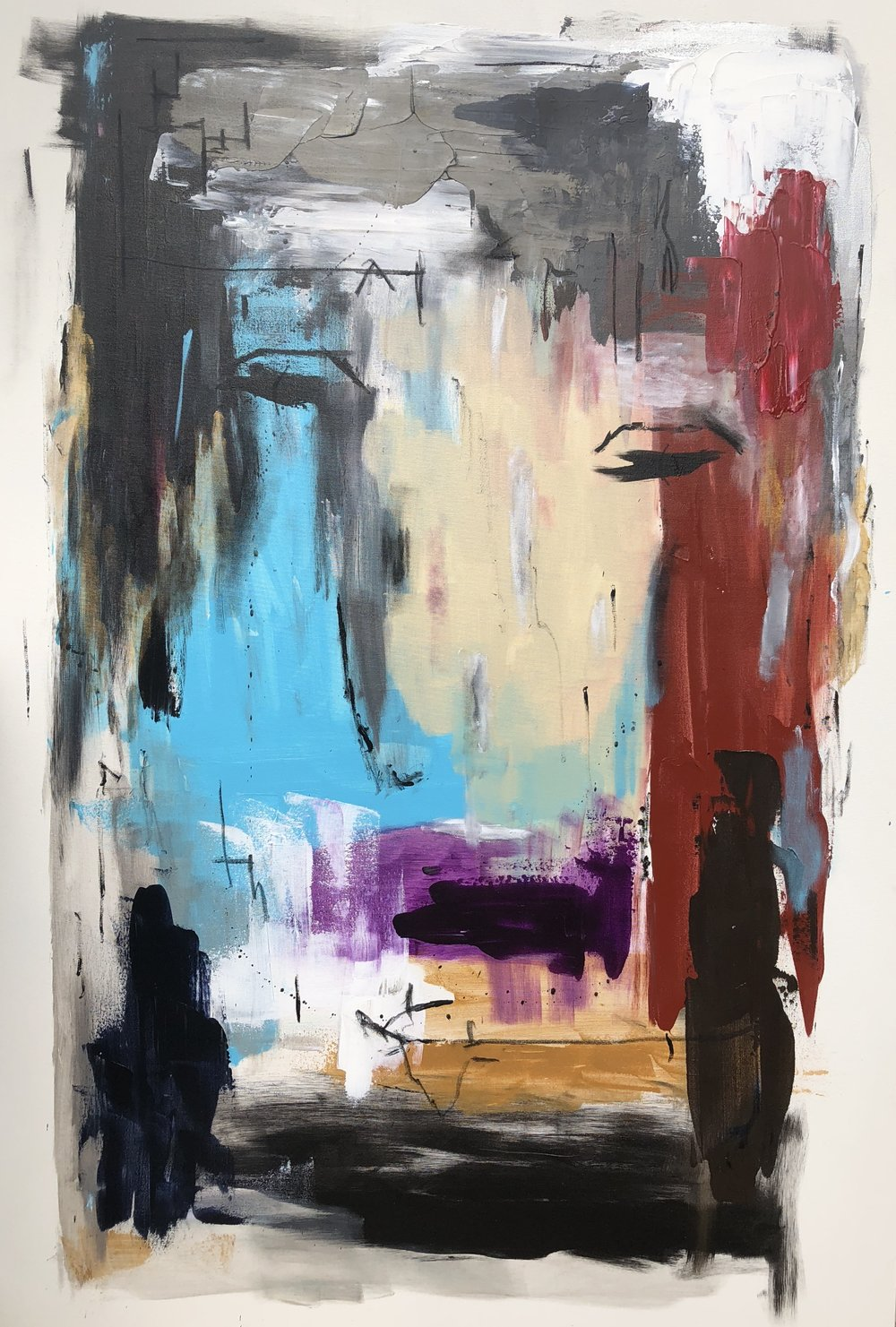 LATERAL (2018)  60 X 40  Acrylic & Pastel on canvas