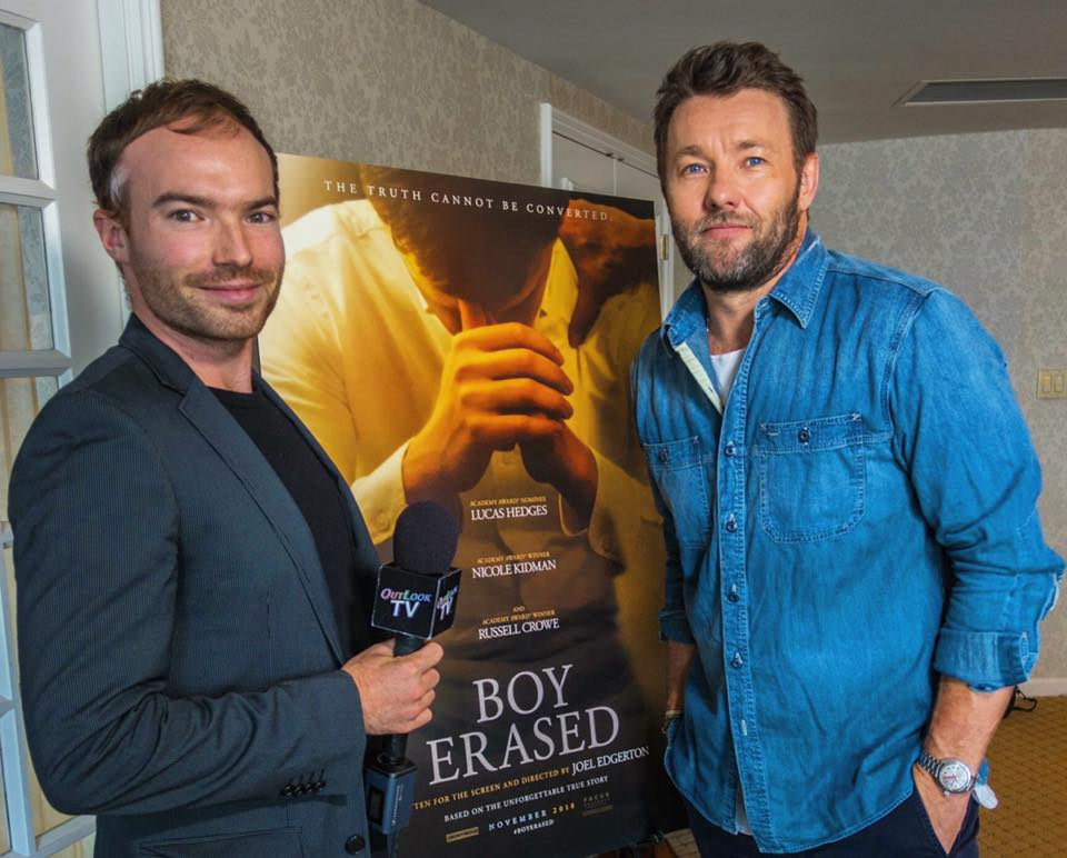 "With  Joel Edgerton , while promoting his movie ""Boy Erased"" in Vancouver, October 2018"