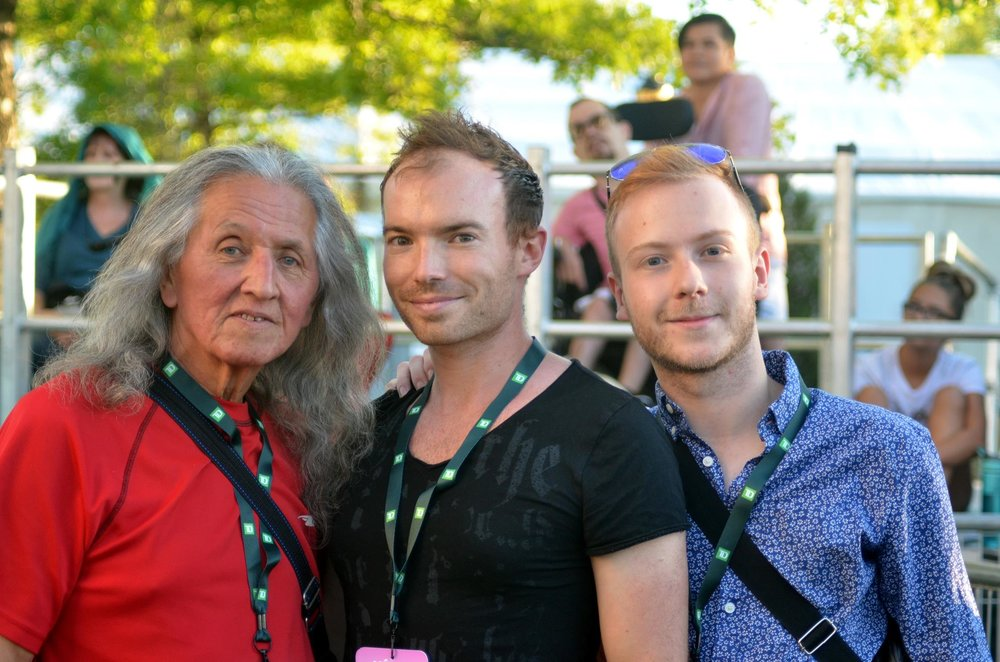 with mohawk actor  Wahiakeron Gilbert , who opened the 2018 Montreal Pride festival. Montreal, QC, August 2018 Picture: Michel Bazinet