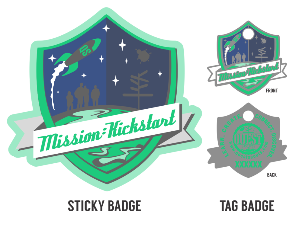 Badges from the Mission: Kickstart Special Quest. (Now retired.)