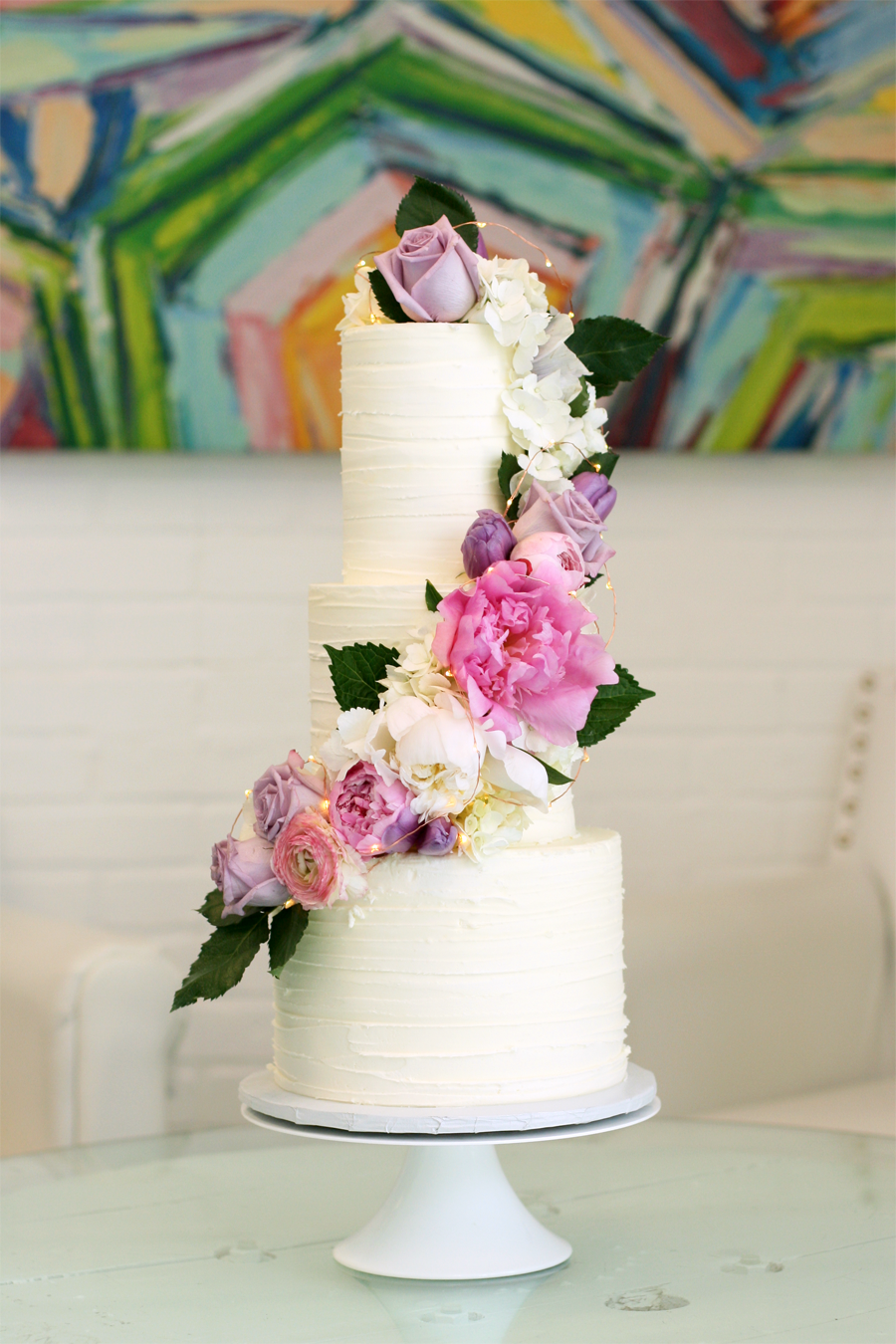 Fresh flowers on textured buttercream