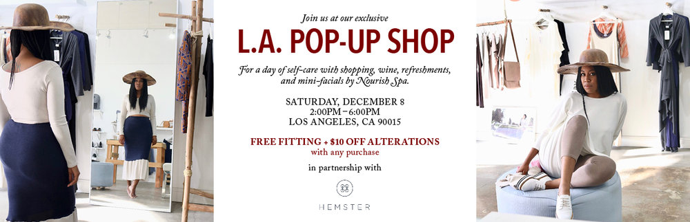 Pop Up Shop will be at  Alvita Peron Studio, 1040 S. Los Angeles Street, Suite 15, Los Angeles, CA 90015.