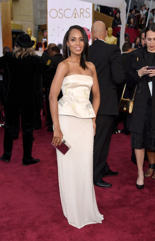 Kerry Washington wore a Miu Miu peplum number. The dress could've done without the olive branches, and a plum lip to match Kerry's clutch would have brought the look together and made it more Oscar-friendly.