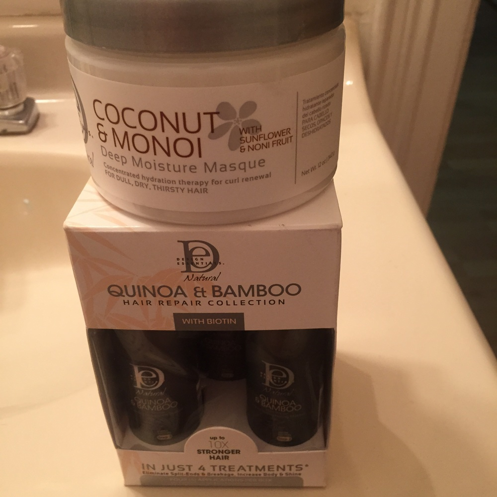 Trying the Coconut Monoi Masque after I finish the Quinoa & Bamboo treatment!
