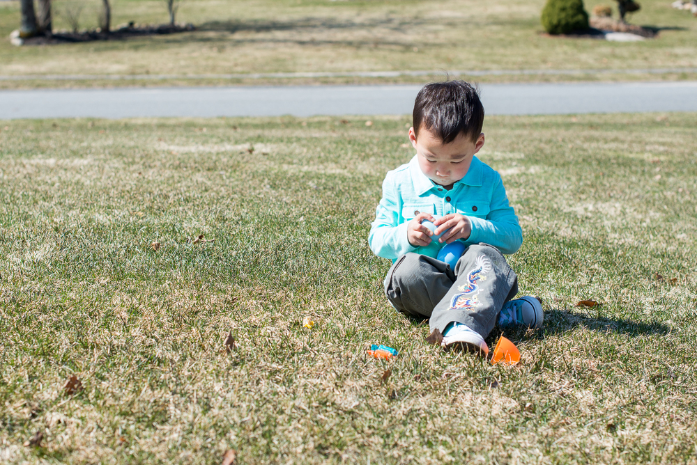 Milo's preferred hunt method: Find egg, eat candy, leave egg behind.