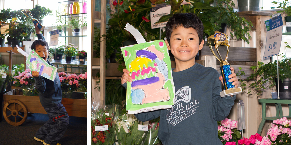 Our local market holds a poster contest at each major holiday. All the students from the local area schools participate. Well, look who won third place for his poster?! (I think it has something to do with the fact that his bunny was wearing a sweater...)