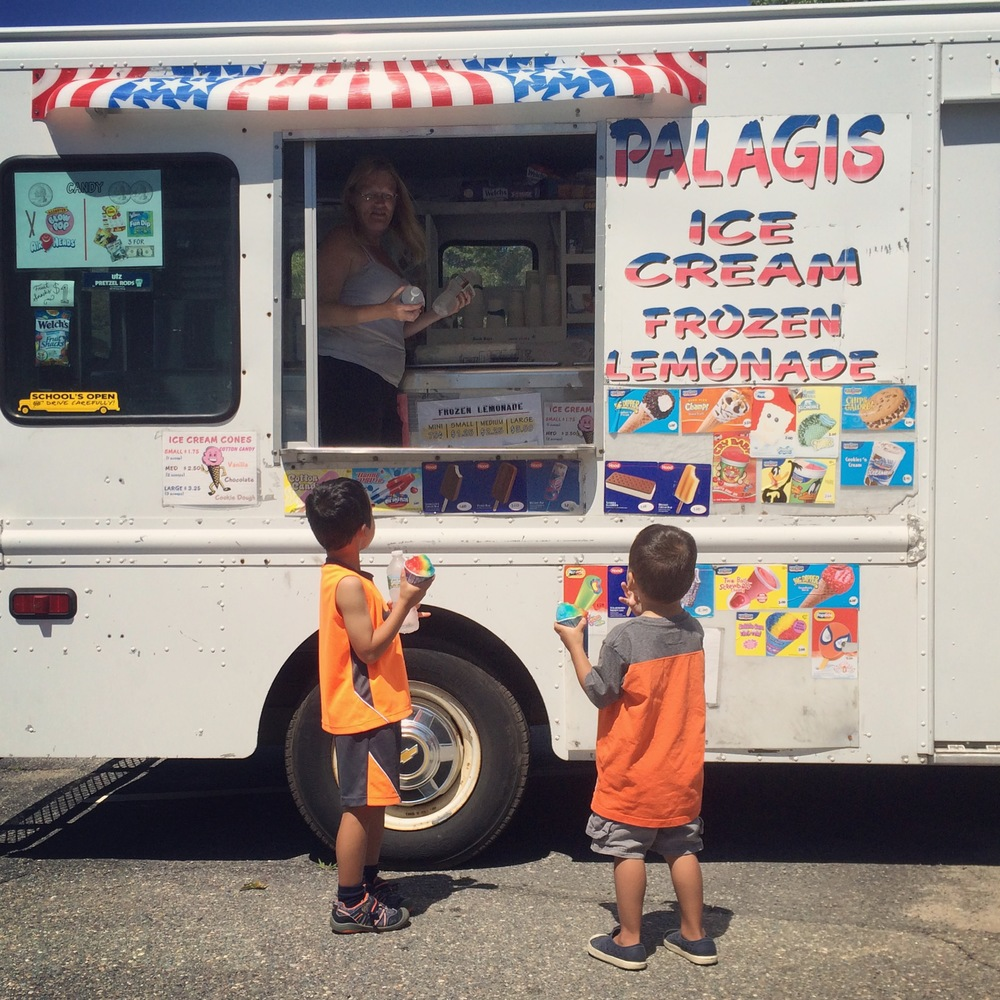 Summer Adventure No. 22: Ice Cream Truck!! I was just saying that we hadn't seen a truck all summer... And then today... Ta-da! Jokes on me though since they had dessert with lunch too.