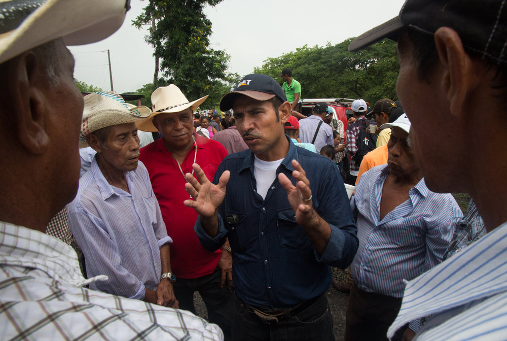 Javier Carmona speaks to fellow campesinos  at a protest against the Ley 840 and the Nicaraguan Canal project which could expropriate tens of thousands of families' property's most of whom are small farmers, or campesinos. The protest in El Tule is on the same site as the protest on December 24, 2015 when police violently dispersed protesters with rubber bullets and tear gas, wounding multiple people including shooting out the eye of one man, and arresting more than 25 people. El Tule, Rio San Juan, Nicaragua,