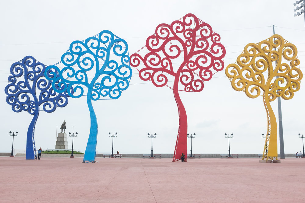 """Arboles de Vida"" or ""trees of life"" stand tall and colorful, built by the government in Managua, Nicaragua"