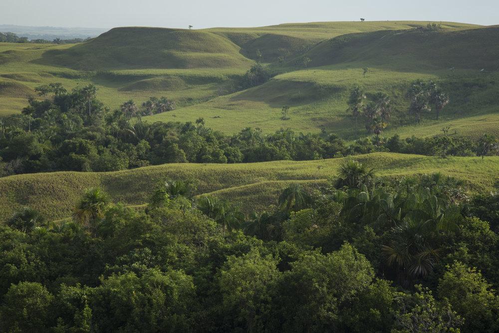 Paisaje alrededor de la comunidad de Rubiales, Meta, donde petróleo ha sido extraído por más de 25 años, primero por la compañía canadiense Pacific Rubiales y ahora por Ecopetrol. Según líderes locales y ambientalistas, los ríos y la tierra han sido contaminados, lo que ha causado terremotos que afectan la infraestructura local. 10 de abril de 2017 Rubiales, Meta, Colombia