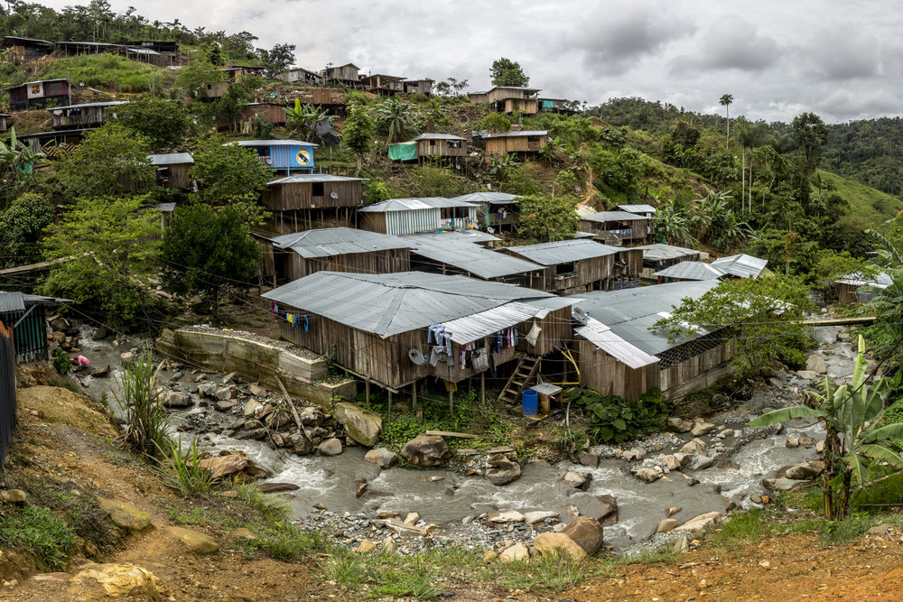 In the community of Alto Caribona, known as Mina Walter, there is no presence of the Colombian State. It was built and maintained by the people themselves who generate electricity, provide water, built the  school, church, clinic and the gold mines themselves. South Bolivar, Colombia May 12, 2017