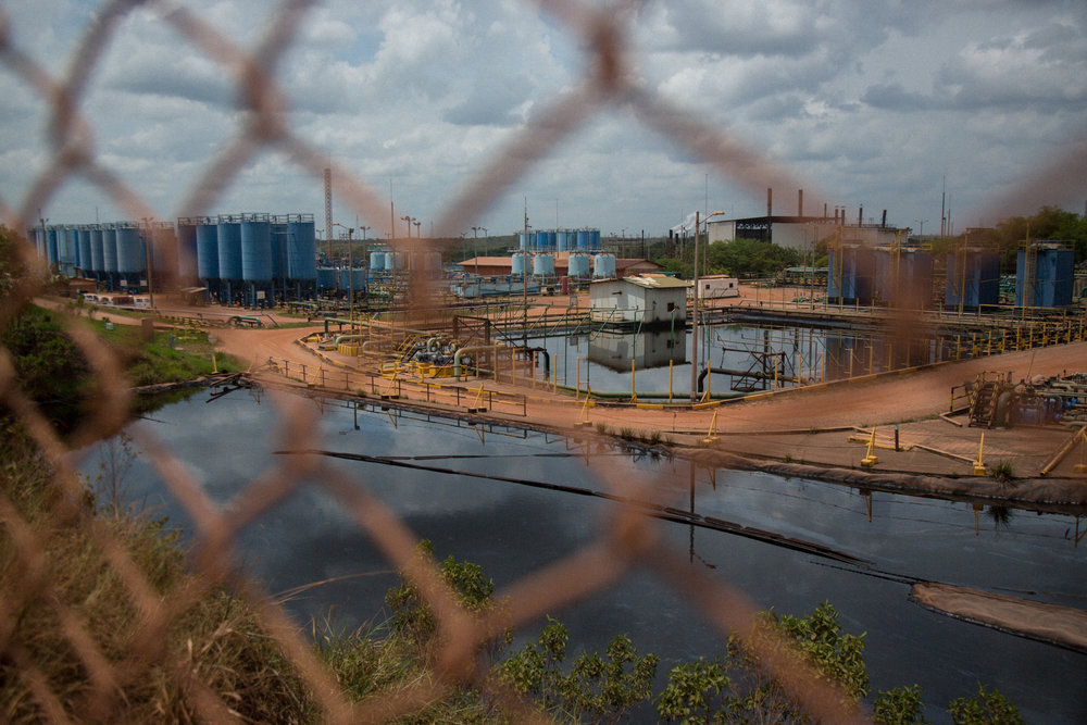 Oil processing infrastructure in Rubiales, Meta where water used to extract the oil is filtered before being returned to the rivers. April 9, 2017. Rubiales, Meta, Colombia