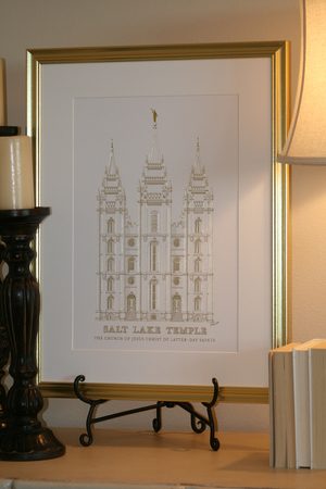 shiny gold print with 18x24 mat and frame