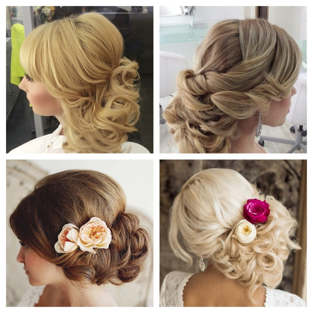 Low updos with soft curls