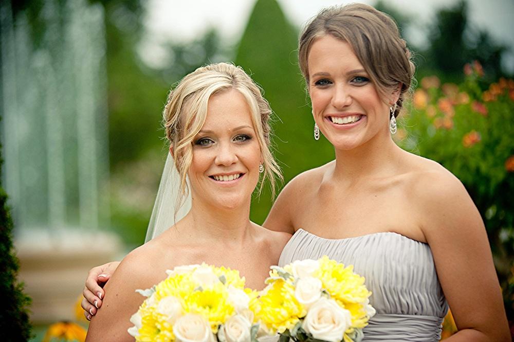Bride and bridesmaid makeup coordination