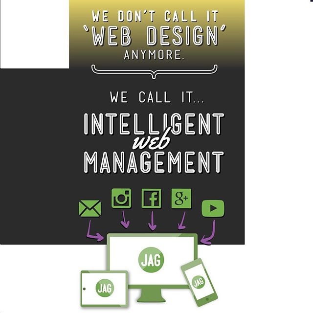 """Web designer"" is so 2002. 🙄 . Here @jagbranding 🍌 we don't call it #webdesign anymore. We call it #intelligentwebmanagement 🌐 and it's integral to the success 💪🏻💪🏿💪🏽 of a business' #brand in today's economy. . It's also part of the JAG formula. . #thejagformula #jagbranding #jagbrandingec #branding101 #green #yellow #purple #black #white #instapath . #notjustagimmick #brandingagency #brandagency #webmanagement #webdesigner #facebook #instagram #youtube #emarketing #googleplus #mobilefriendly #ecommerce #hubandspoke #campaign"